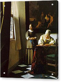 Lady Writing A Letter With Her Maid Acrylic Print by Johannes Vermeer