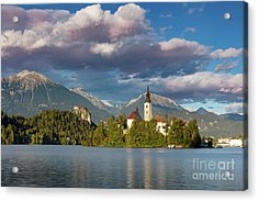 Acrylic Print featuring the photograph Lake Bled Evening by Brian Jannsen