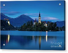 Acrylic Print featuring the photograph Lake Bled Twilight by Brian Jannsen