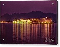 Acrylic Print featuring the photograph Lake Palace Night Scenery by Yew Kwang