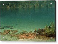 Lake Scene Acrylic Print by Albert Bierstadt