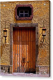 Lamps And Door Acrylic Print by Mexicolors Art Photography