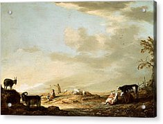 Landscape With Cattle And Figures Acrylic Print