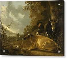 Landscape With Cows And A Shepherd Boy Acrylic Print