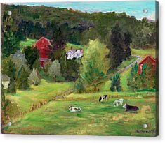 Landscape With Cows Acrylic Print
