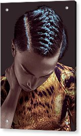 Latin American Guy With Braided Hairstyle Wearing Animal Print Acrylic Print