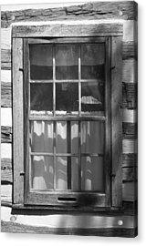Lattice Window On Log Cabin Acrylic Print