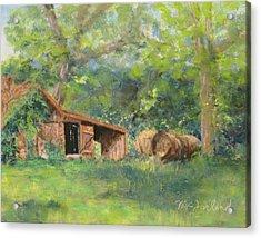 Leftover Hay Acrylic Print by Lorraine McFarland