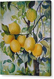 Acrylic Print featuring the painting Lemons by Elena Oleniuc