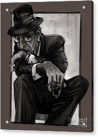 Leonard Cohen Acrylic Print by Andre Koekemoer