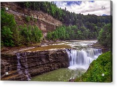 Acrylic Print featuring the photograph Letchworth State Park Lower Falls by Mark Papke