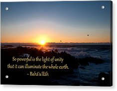 Light Of Unity Acrylic Print by Baha'i Writings As Art