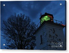 Lighthouse At Night Acrylic Print by Joe  Ng