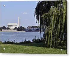 Lincoln Memorial And Washington Monument From The Potomac River Acrylic Print by Brendan Reals