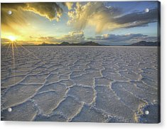 Lines In The Salt Acrylic Print by Peter Irwindale