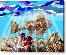 Lion Fish Acrylic Print by Mike Moss