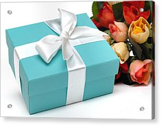 Little Blue Gift Box And Flowers Acrylic Print