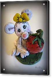 Little Mouse Big Strawberry Acrylic Print by Trina Prenzi