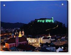 Ljubljana Castle Acrylic Print by Ian Middleton