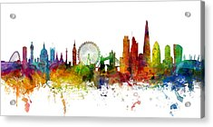 London England Skyline Panoramic Acrylic Print by Michael Tompsett