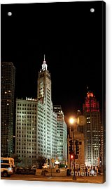 Looking North On Michigan Avenue At Wrigley Building Acrylic Print