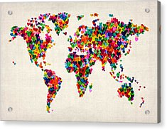 Love Hearts Map Of The World Map Acrylic Print