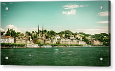 Acrylic Print featuring the photograph Lucerne Panorama by Wolfgang Vogt