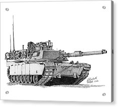 Acrylic Print featuring the drawing M1a1 Tank by Betsy Hackett