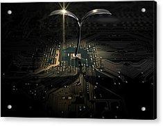 Macro Circuit Board With Futuristic Plant Acrylic Print by Allan Swart