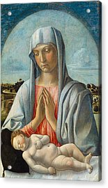 Madonna Adoring The Sleeping Child Acrylic Print by Giovanni Bellini