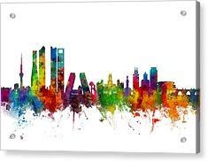Madrid Spain Skyline Acrylic Print by Michael Tompsett