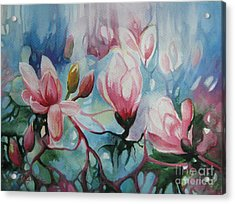 Acrylic Print featuring the painting Magnolia by Elena Oleniuc