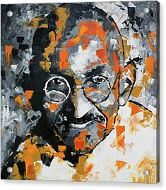Acrylic Print featuring the painting Mahatma Gandhi by Richard Day