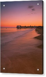 Acrylic Print featuring the photograph Maine Old Orchard Beach Pier Sunset by Ranjay Mitra