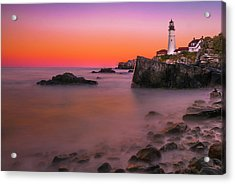 Acrylic Print featuring the photograph Maine Portland Headlight Lighthouse At Sunset by Ranjay Mitra
