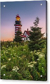 Maine West Quoddy Head Light At Sunset Acrylic Print by Ranjay Mitra