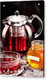 Mallow Tea In Glass Cup With Honey Acrylic Print