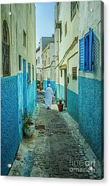 Man In White Djellaba Walking In Medina Of Rabat Acrylic Print by Patricia Hofmeester