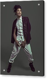 Man With Long Curly Updo Hairstyle In Purple Suit Acrylic Print