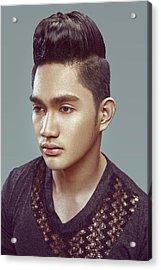 Man With Modern Bun Hairstyle In Black Shirt Acrylic Print