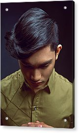 Man With Short Back, Sides And A Long Layer On Top Hairstyle Acrylic Print
