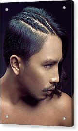 Man With Side Part Braided Long Hair Acrylic Print