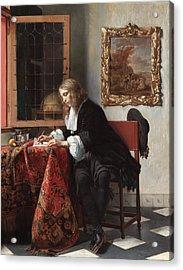 Man Writing A Letter Acrylic Print by Gabriel Metsu