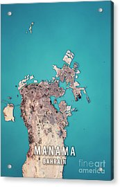 Manama 3d Render Satellite View Topographic Map Acrylic Print