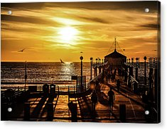 Pier Of Gold Acrylic Print by April Reppucci