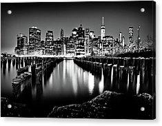 Manhattan Skyline At Night Acrylic Print by Az Jackson