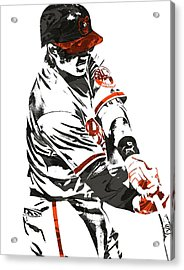 Manny Machado Baltimore Orioles Pixel Art Acrylic Print by Joe Hamilton