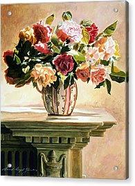 Mantlepiece Roses Acrylic Print by David Lloyd Glover