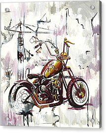 Mapped Motorcycle Acrylic Print by Lauren Penha
