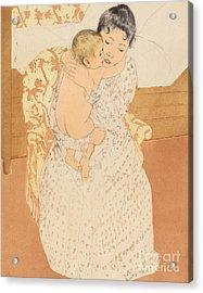 Maternal Caress Acrylic Print by Mary Stevenson Cassatt
